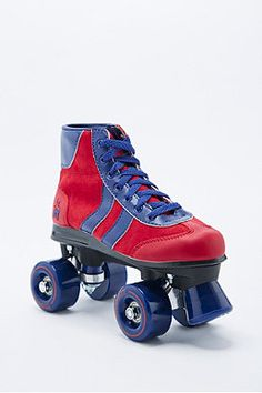 Retro Rollerskates in Red and Blue, urban outfitters