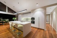 Salter Point House   Mountford Architects   modern white kitchen