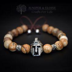 Gladiator Bracelet Helmet Bracelet Mens by JuniperandEloise Silver Bracelets, Bracelets For Men, Handmade Bracelets, Beaded Bracelets, Stone Jewelry, Beaded Jewelry, Men's Jewelry, Male Jewelry, Gold Jewellery
