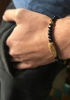 Black Wood Bracelet Boyfriend Bracelet Father's Gift