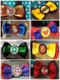Groom and groomsmen wear a superhero bow tie, and the bride and bridesmaid wear sidekick hair bow <3