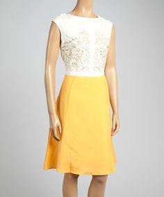 Look at this #zulilyfind! Ecru Embroidered Color Block A-Line Dress - Women by Joy Mark #zulilyfinds