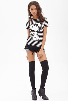 Striped Snoopy Graphic Tee | FOREVER21 - 2000119160