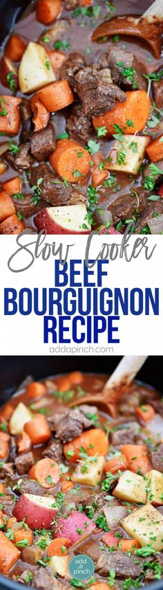 Slow Cooker Beef Bourguignon Recipe - A classic beef bourguignon recipe made easy in the slow cooker! Loaded with vegetables, beef, and a thick, rich sauce perfect for entertaining or busy weeknights! Campbells Beef Stroganoff, Mushroom Stroganoff, Slow Cooker Recipes, Crockpot Recipes, Bourguignon Recipe, Stroganoff Recipe, Pork Soup, Slow Cooked Beef, Crock Pot Cooking