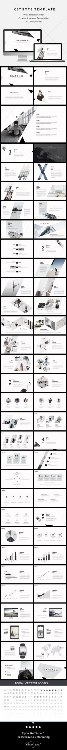 Diagonal - Clean & Creative Keynote Template  #most #chart • Download ➝ https://graphicriver.net/item/diagonal-clean-creative-keynote-template/18027904?ref=pxcr
