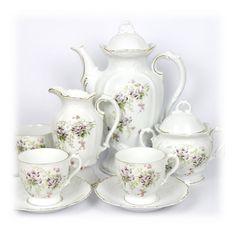 Antique Teapot Set 1880 Tea Set Vintage Tea Cup and Saucer Sugar Creamer Set German Porcelain Bone China