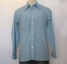 Vintage Amazing 70s POLY COTTON DRESS Button Up No Iron Jc Penney Men Medium Soft Long Sleeve Shirt