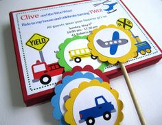 such a great idea for little boy birthday party! Transportation Vehicle Invitations - Cars Fire Truck