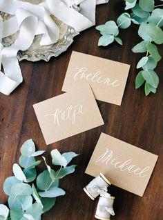 Simple escort cards: http://www.stylemepretty.com/2015/09/09/romantic-zurich-wedding-part-ii/   Photography: Peaches & Mint - http://peachesandmint.com/