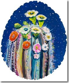 Moon Cactus, Starla Halfmann, oil, print, giclee, fine art, skyline, cactus, wood