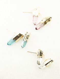 Keilani earrings clear quartz point stud by www.kealohajewelry.com