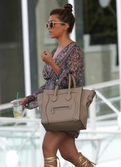 Kourtney Kardashian With Celine Dune Mini Luggage Bag