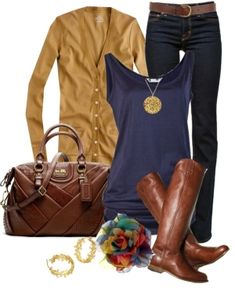 Mustard and navy for fall. Gorgeous leather bag and perfect riding boots. Love! by karin