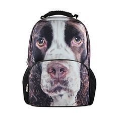HUGSIDEA Cute Dog English Spring Spaniel Print Sport Backpack Travling Hiking Daypack -- Click on the image for additional details.