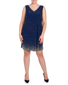 5b12c504a0f Women s Plus Size Beaded Ombre Shift Dress-Dresses-Plus Size-Women