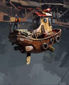 Dirigible Steampunk, Steampunk Airship, Dieselpunk, 3d Fantasy, Fantasy Landscape, Ship Drawing, Retro Background, Futuristic Art, Cyberpunk Art