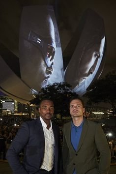 Anthony Mackie and Sebastian Stan -- This is hilarious. Can you imagine having your face blown up that giant?