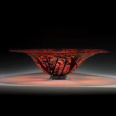 Cedars of Beirut Bowl: Lisa Tate: Glass Bowls - Artful Home Glass Vessel, Glass Bowls, Glass Art, Colored Vases, Coloured Glass, Red Bowl, Different Kinds Of Art, Sandblasted Glass, Kiln Formed Glass