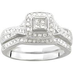 1/4 Carat T.W. Princess-Cut Diamond Bridal Set in 10kt White Gold