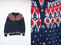 Vintage 60s / 70s Red White & Blue Fair Isle Norwegian Scandanavian Wool Knit Cardigan Sweater L