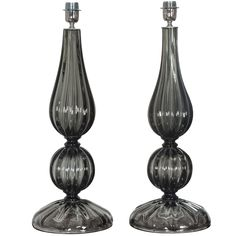 Elegant and Classic Pair of Seguso Style Smoked Murano Glass Lamps
