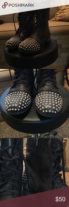 Boots Black studded leather ..side zip with lace up front MAKE me an offer I can't refuse 🤓 Steve Madden Shoes Combat & Moto Boots