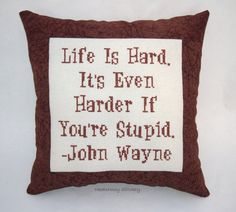 Funny Cross Stitch Pillow Brown Pillow John Wayne by NeedleNosey, $25.00