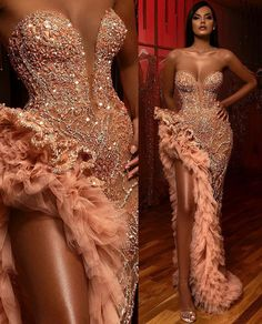 Show your best to all people even in the evening and then get elegant evening formal dresses 2019 sweetheart beading crystals sexy prom gowns thigh high slits s Black Girl Prom Dresses, Blue Evening Dresses, Cute Prom Dresses, Glam Dresses, Mermaid Prom Dresses, Evening Gowns, Dresses Dresses, Wedding Dresses, Summer Dresses