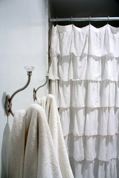 master bath ruffle shower curtain