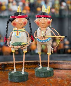 "Lori Mitchell - Indian Guide and Princess, set of 2 - Wooden Duck Shop Size: 6"" High"