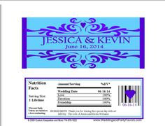 Wedding candy bar wrapper purple and turquoise Wed-670-WP