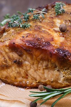 Course(s): Entrée; Ingredients: balsamic vinegar, olive oil, pork loin roast, steak seasoning