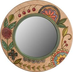 Small Circle Mirror – Small circle mirror with colorful contemporary floral motif Circle Crafts, Frame Crafts, Mirror Mosaic, Mosaic Art, Mirror Painting, Painting Frames, Pottery Painting Designs, Stained Glass Birds, Coloring Book Art