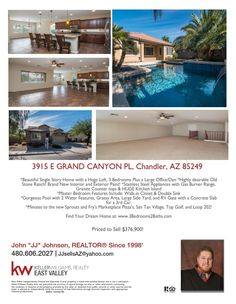 OPEN HOUSE SATURDAY Jan 21st From 12 Pm To 5 Pm At  3915 E GRAND CANYON PL Chandler 85249