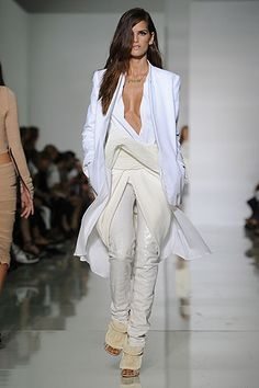 White Coat length Pant Suit - by Kanye West Fashions