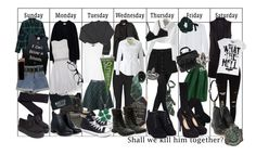 Designer Clothes, Shoes & Bags for Women Mode Harry Potter, Harry Potter Style, Harry Potter Outfits, Grunge Outfits, Trendy Outfits, Cool Outfits, Fashion Outfits, Slytherin Pride, Slytherin Aesthetic