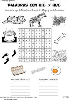 ORTOGRAFÍA PRIMARIA - PALABRAS CON HIE Y HUE : FICHAS PARA NIÑOS
