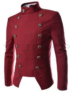(NJK4-RED) Mens Double Breasted Slim Fit Jacket Blazer