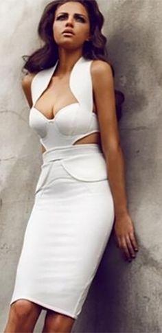 Cut out bodycon midi dress in white color