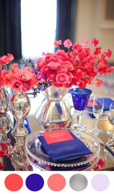 Beautiful, bold combination of Blue and coral - Wedding Place Settings from Belle the Magazine Wedding Color Schemes, Wedding Colors, Wedding Flowers, Ranunculus Wedding, Color Inspiration, Wedding Inspiration, Dream Wedding, Wedding Day, Trendy Wedding