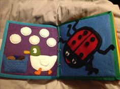Quiet book/ busy book pages. Sarah and Duck bread page and ladybird spots page…