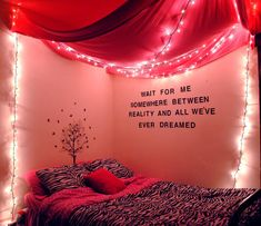 Quote on wall, but I like this more for the draped ceiling and lights