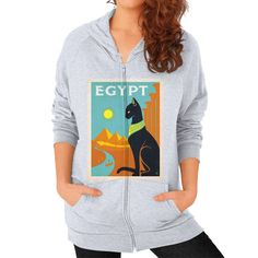 Vintage Egypt Travel Poster on an American Apparel Zipper Womens Hoodie