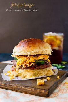 Frito Burger - Crispy corn Fritos, hot chili, grilled hamburger, cheddar cheese and a few extra toppings.