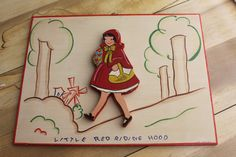 Hand painted Vintage Red Riding Hood  Wooden Nursery by feathermar, $18.00