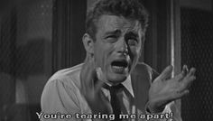 "Rebel Without a Cause, 1954:  This is the famous scene where James Dean screams at his bickering parents: ""You're tearing me apart!""   Loved that performance.  Even today, it's a tad over-the-top, & yet one can completely relate to it. L.M. Ross"