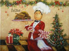 Christmas Chef Art Print fat chefs Christmas by VickieWadeFineArt