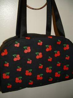Rockabilly Cherry Print Bowling Style Bag