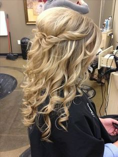 Cute and easy. Half Up with curls