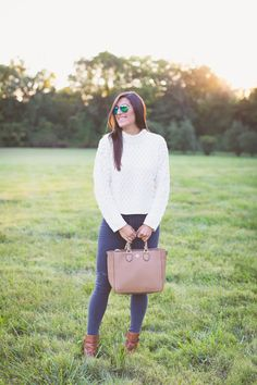 cable knit sweater, fall sweater, fall fashion, fall style, tory burch robinson tote, gray skinnies, fall outfit ideas // a southern drawl